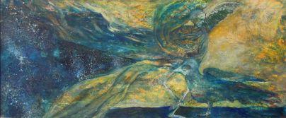 Alku ja loppu / Tanssi 2012, sekatekniikka paperille, 60 x 24,5 cm