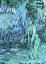 Kylmää vettä 2011, sekatekniikka, 8,5 x 12 cm