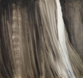 Joku saapuu I, 2014, öljy mdf-levylle, 48,5 x 51,5 cm 350 €